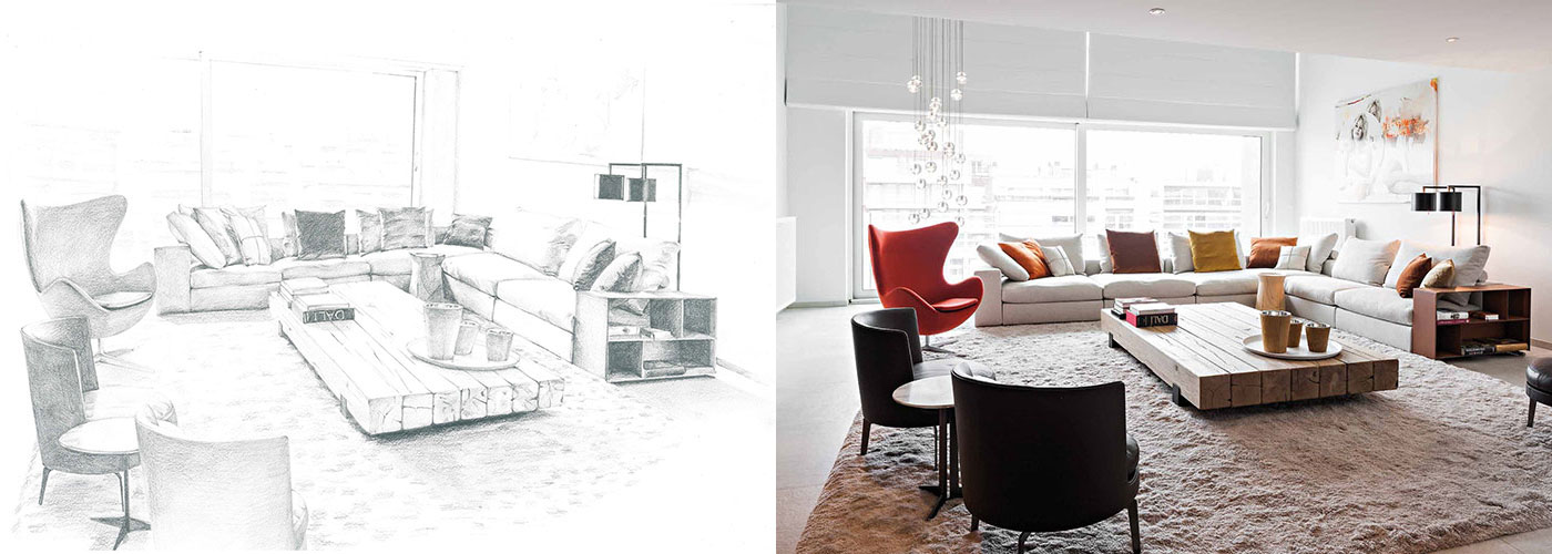 progetto arredamento moderno soggiorno